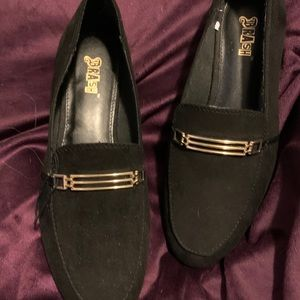 Black Loafers with Gold Accent